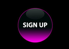 Pink neon buttom sign up. One pink neon button sign up, black background stock illustration