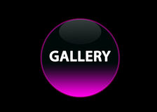 Pink neon button gallery. One pink neon button gallery, black background royalty free illustration