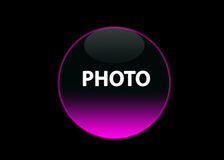 Pink neon button photo. One pink neon button photo, black background royalty free illustration