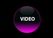 Pink neon button video. One pink neon button video, black background stock illustration
