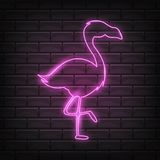 Pink neon flamingo vector light sign illustration. Fluorescent tropical bird decoration glowing element. Glow night and bright electric flamingos bar emblem vector illustration