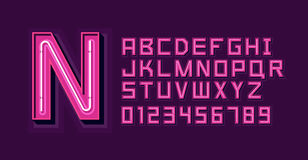 Pink Neon Light Alphabet Font Stock Photography