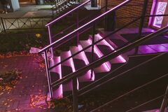 Free Pink Neon Light Staircase Geometry Line Glow Building City Stock Photos - 201327843