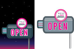 Pink neon signage retro vintage style for diner. 1950s style of advertising  on a white background,  available Stock Photography