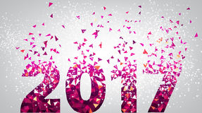 Pink 2017 New Year background. 2017 New Year background with pink figures. Vector illustration Stock Images