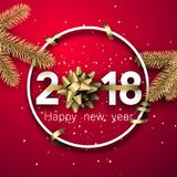 Pink round 2018 new year background. Pink 2018 new year background with fir branches and gold bow. Vector illustration.r Stock Photos
