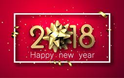 2018 new year background with bow. Pink 2018 new year background with golden bow and serpentine. Vector illustration Stock Image