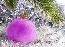 Pink New Year ball Stock Images
