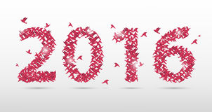 Pink 2016 new year origami style. Paper Birds. Vector illustration Stock Photos