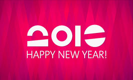 Pink 2016 New Year Vector Banner. Happy New Year vector 2016 banner template. Abstract background, geometric pattern. Simple and elegant greeting card design stock illustration
