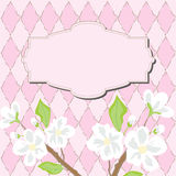 Pink nice card with blooming Royalty Free Stock Image