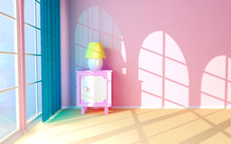Pink nightstand at the window Royalty Free Stock Image