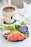 Pink noodles. Official name is Siamese noodle or Mee Siam. In Th royalty free stock images
