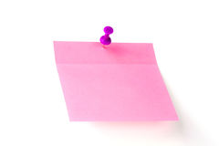 Pink note pad with button Royalty Free Stock Images