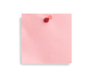 Pink note with red pin Royalty Free Stock Image