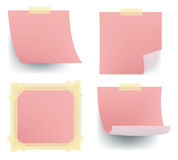 Pink note sets sticking on the wall Royalty Free Stock Photography