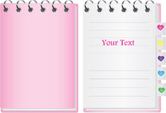 Pink Notebook. Vector of pink notebook with tag vector illustration