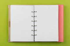 Pink notebook. On green Stock Image