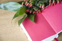 Pink notebook with lovely flower Royalty Free Stock Images