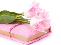 Pink notebook and tulips Stock Photography