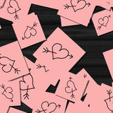 Pink notes with hearts Royalty Free Stock Photo