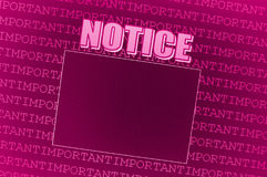Pink Notice Board. An illustrated background with a futuristic design of an empty pink notice board Royalty Free Stock Photo