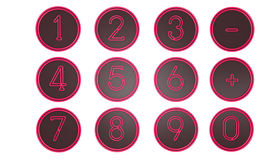 Pink Number icons Stock Photos