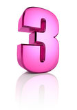 Pink Number 3 Stock Photo