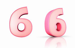 Pink Number Six Royalty Free Stock Images