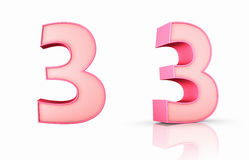 Pink Number Three. 3d pink number three, isolated on white background, 3 Stock Photos