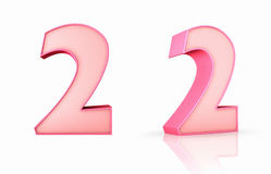 Pink Number Two. 3d pink number two, isolated on white background, 2 Stock Photo