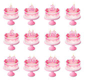 Pink Numbered Birthday Cakes Stock Photography