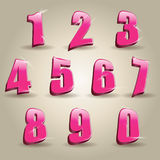 Pink numbers. Numbers set in glittering pink metal modern style. Vector illustration Stock Photography