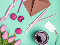 Pink objects on green background. Stock Image