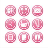 Pink office tools signs Royalty Free Stock Photos