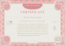 Pink official certificate. Pink guilloche border on beige background Stock Images