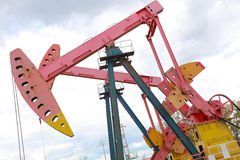 Pink Oil pump of crude oilwell rig Stock Photo