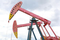 Pink Oil pump of crude oilwell rig Royalty Free Stock Images