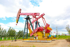 Pink Oil pump of crude oilwell rig Royalty Free Stock Photography