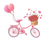 Pink old-fashioned bicycle with flowers in basket