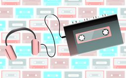 Pink old retro vintage hipster realistic portable music cassette audio player for audio cassettes from the 80`s, 90`s and headph stock illustration