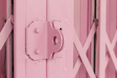 Pink old steel door Stock Photography