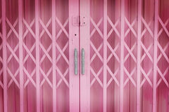 Pink old steel door Royalty Free Stock Images
