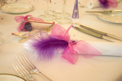 Pink one!. Table setting at a wedding breakfast - pink/purple theme Royalty Free Stock Images