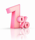 Pink One Percent. On white background. 1 Royalty Free Stock Photo
