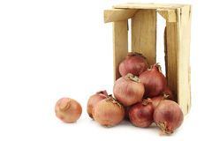 Pink onions in a wooden crate Stock Photos