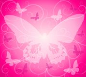 Pink Opaque Butterfly Background. A background featuring soft opaque butterfly silhouettes and swirls in pink and white colours Royalty Free Stock Photography