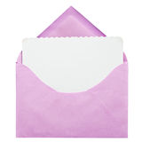 Pink open envelope. Vintage open envelope with blank paper on white background Stock Image
