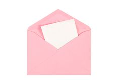 Pink  open envelope with paper Isolated Royalty Free Stock Image