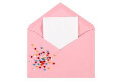Pink open envelope with paper Isolated Stock Photography